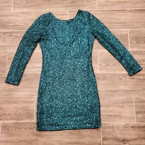 H&M Bodycon Sequin DressGreen Teal Size 6